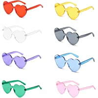 Fansport 8 Pairs Fashion Sunglasses Frameless Heart Shape Lens Creative Travel Sunglasses for Party
