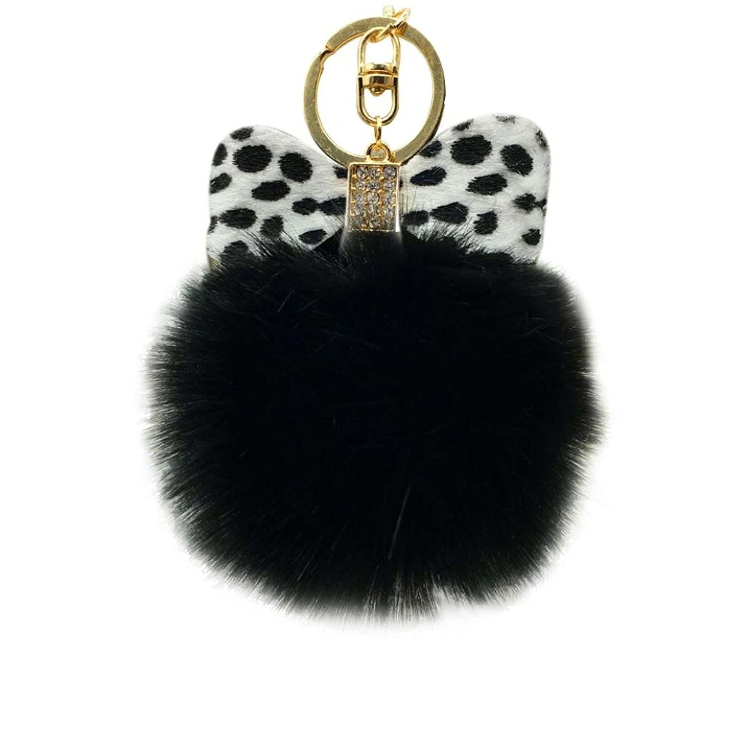 Amiley Faux Fur Pom Pom Bowknot Car Keychain Handbag Wallet Backpack Key Ring