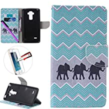LG G4 Stylus LS 770 Case, ISADENSER Premium Mobile Cover Protect Skin Leather Cases Covers With Card Slot Holder Wallet Book Design For LG G Stylo LS770, Three Elephant