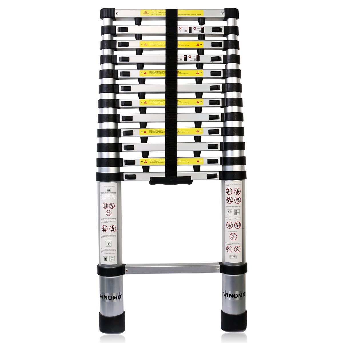 WINOMO Aluminum Telescopic Ladder Extendable Folding Ladder 3.8 Meters