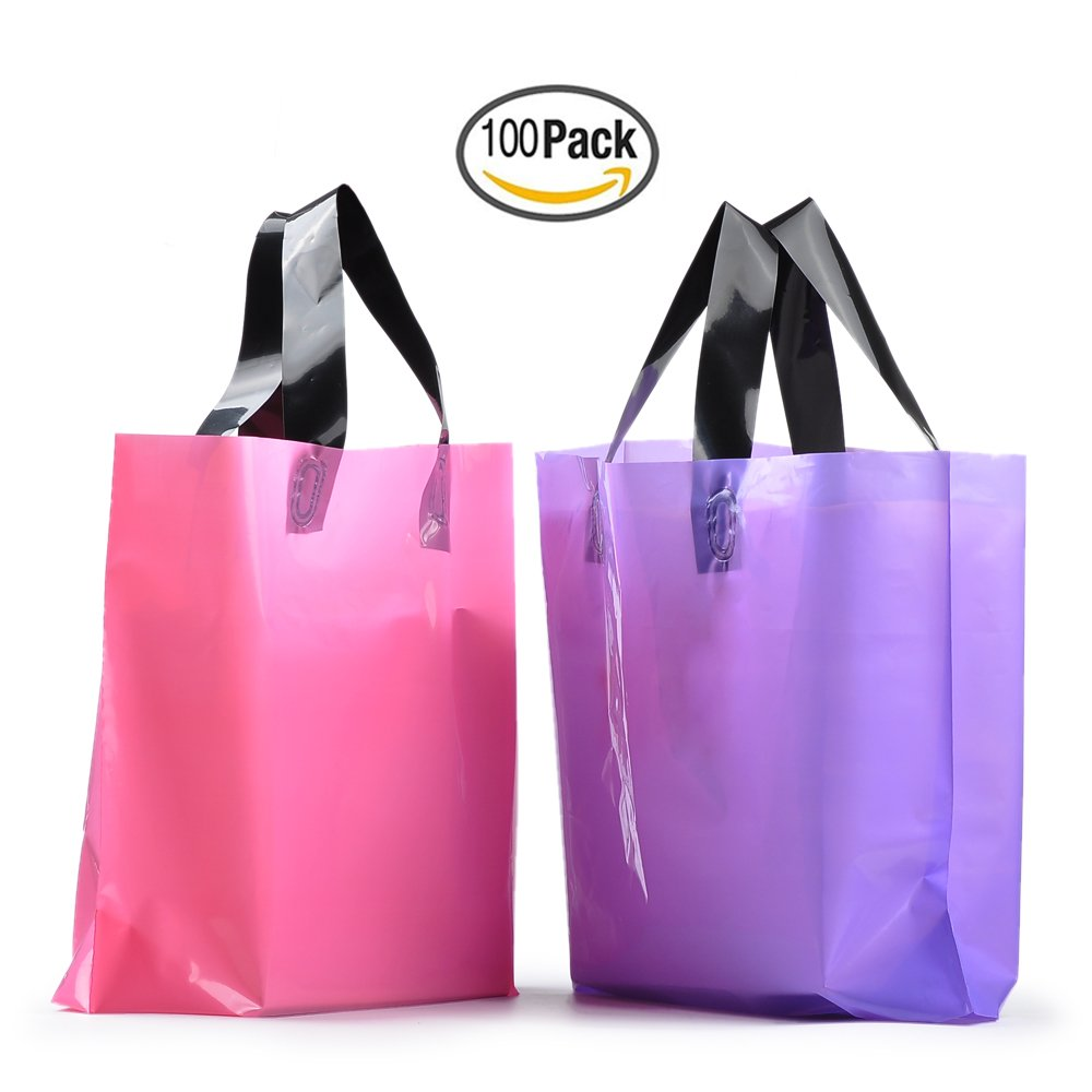 YookeeHome 100PCS Frosted Plastic Gift Bags, Large Merchandise Bags Retail Clothing Grocery Boutique Shopping Bags with Handles, Pink and Purple