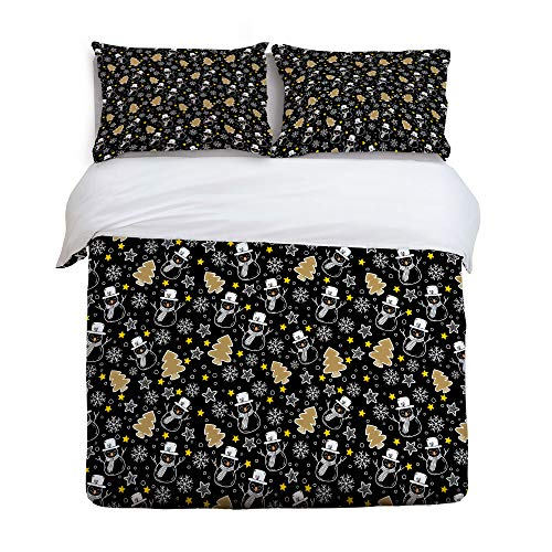 GreaBen King Size Twill Plush Duve Cover Set Kids Bedding Sets for Girls Boys,Colorful Christmas Tree Snowman Pattern Bed Set,Include 1 Comforter Cover with 2 Pillow Cases for $<!--$114.62-->
