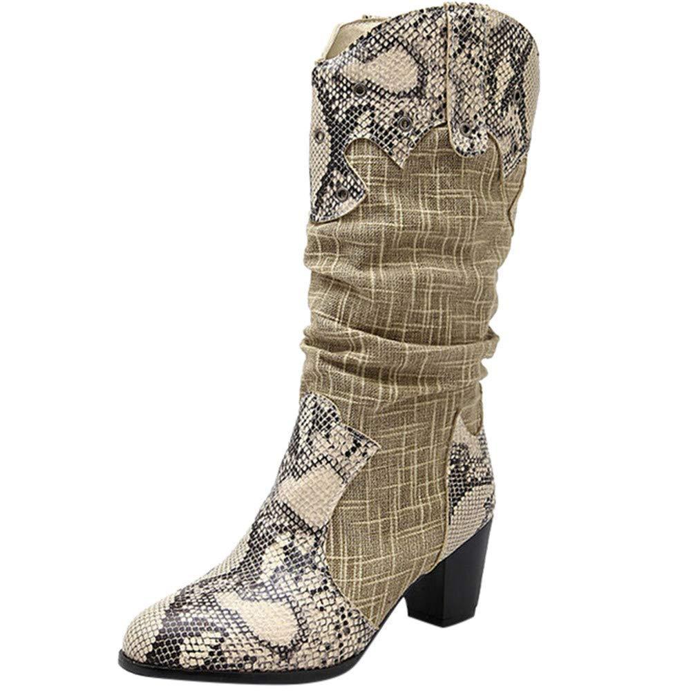 Oudan Stiefel Damen Schuhe Damenstiefel Winter Kniehohe Stiefel High Tube Flat Heels Reitstiefel Stiefel Mode Elegant Stiefel Winterstiefel (Farbe   Beige`` Größe   37 EU)