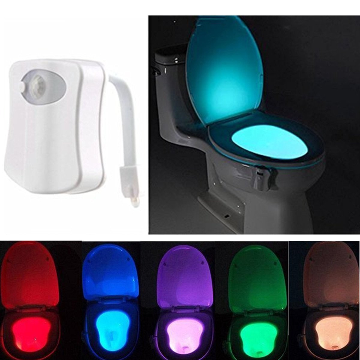 Motion Activated Toilet Night light 8 Colors Changing Toilet Bowl Light Battery Operated Toilet Seat Night light for Bathroom Kid Children Midnight Potty Training (Batteries Not Included) MECO