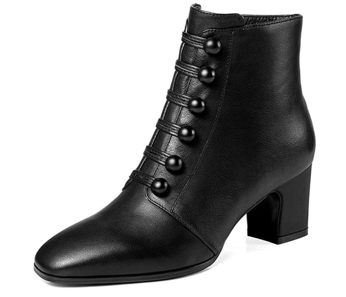 Shiney Damen New Leather Plus Velvet Stiefelies Seitlichem Reißverschluss Chunky Heel Komfortable Nackte Stiefel 2018 Herbst Und Winter