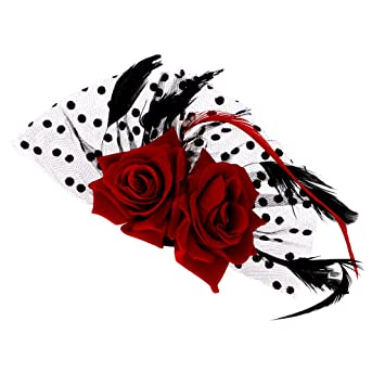 Bridal fascinator red rose flower dots hair clips headwear wedding bridal fascinator red rose flower dots hair clips headwear wedding supplies junglespirit Choice Image