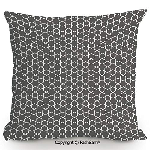 Decorative Throw Pillow Cover Monochrome Star Oriental Middle Eastern Pattern and Chevron Zigzag Lines Decorative for Pillow Cover for Living Room(16
