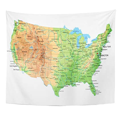 Amazon.com: Emvency Tapestry Artwork Wall Hanging USA High Detailed ...