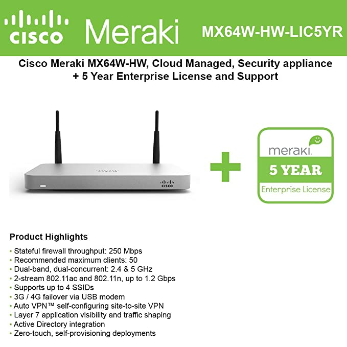 Cisco Meraki MX64W Wireless Firewall Security Appliance
