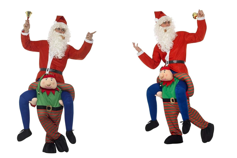 Fancy Dress World – Deluxe Costume da Elfo Adulto Piggyback Vestito verde e Gambe Mock corredato di Cappello da Babbo Natale Personalizzabile, Motivo  Babbo Natale Barba 48817 21441 98150