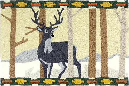 Jellybean Black Forest Deer Accent Rug