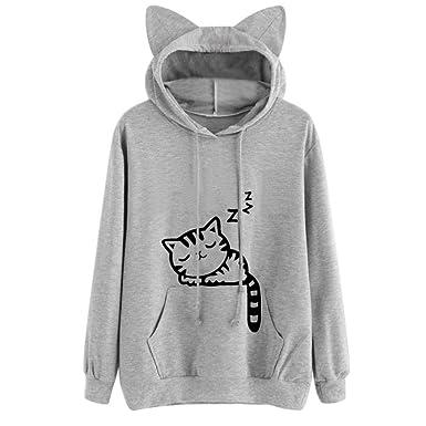 77c0544bb95d3 Hoodies Femme Élégant Automne Hiver Manches Longues Hoody Sweatshirts Cute  Jeune Mode Imprimé Chat Vetements Loisir