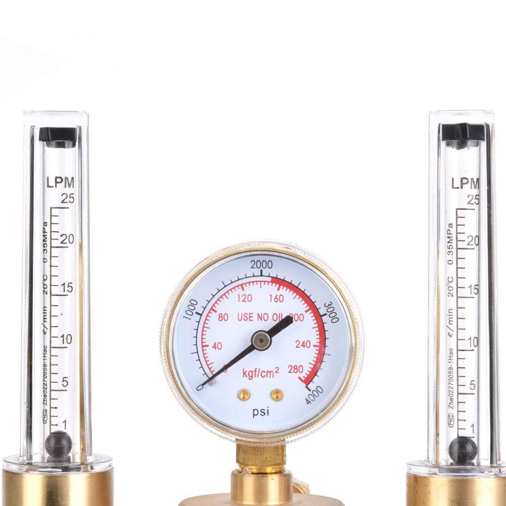 WX-562-5//8 Regolatore di argon doppio tubo Regolatore di argon Flussimetro Riduttore di pressione del gas G5//8 Filettatura maschio per saldatura