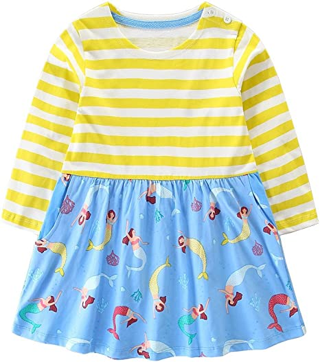 Hongshilian Little Girls Cotton Casual Dress Cartoon Print T-Shirt Short Sleeve Skirt Dresses