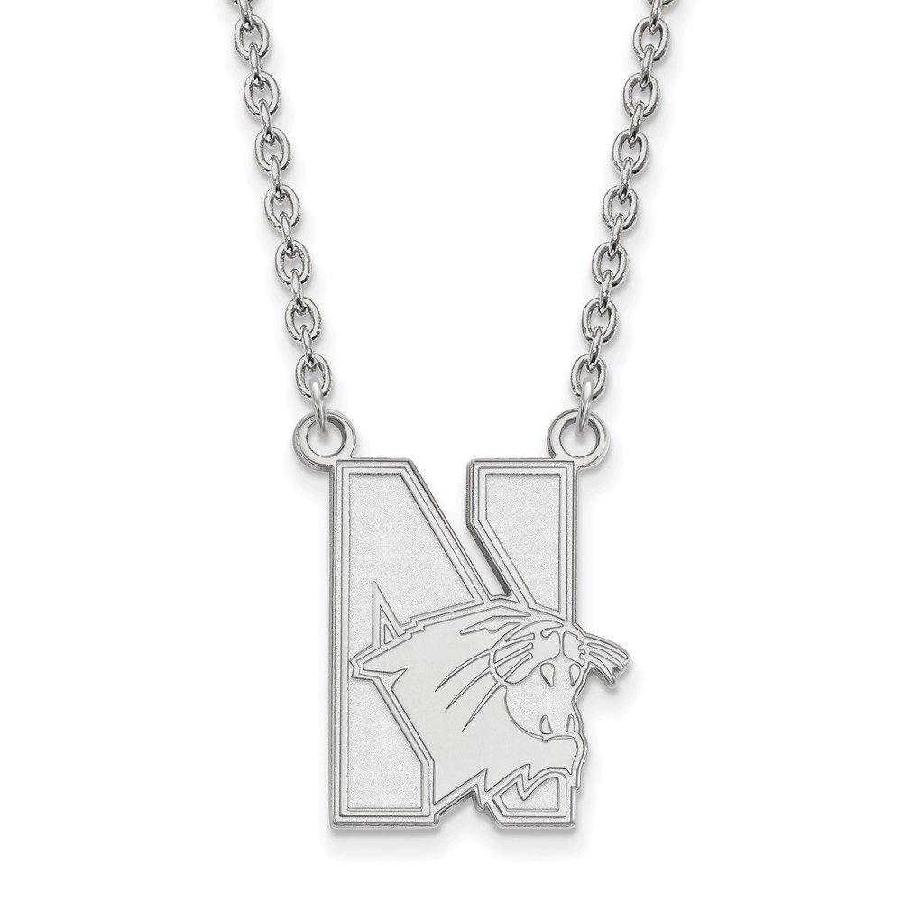 Mia Diamonds 925 Sterling Silver LogoArt Northwestern University Large Pendant with Necklace