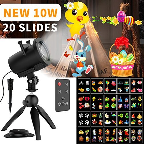Christmas Lights Projector Outdoor LED Projection IP65 Waterproof, Landscape Spotlight for Holiday ,Remote Control Motion Image -10W 20 Slides 32ft Power Cable -