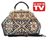 Carpet bag ESCULAP Treillage Navy Large Classic framed ''Doctor'' Gladstone Carpet handbag