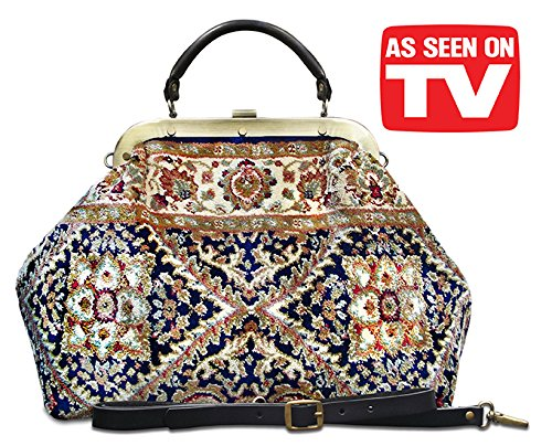 Carpet bag ESCULAP Treillage Navy Large Classic framed ''Doctor'' Gladstone Carpet handbag by CARPET BAGS from MADE OF CARPET