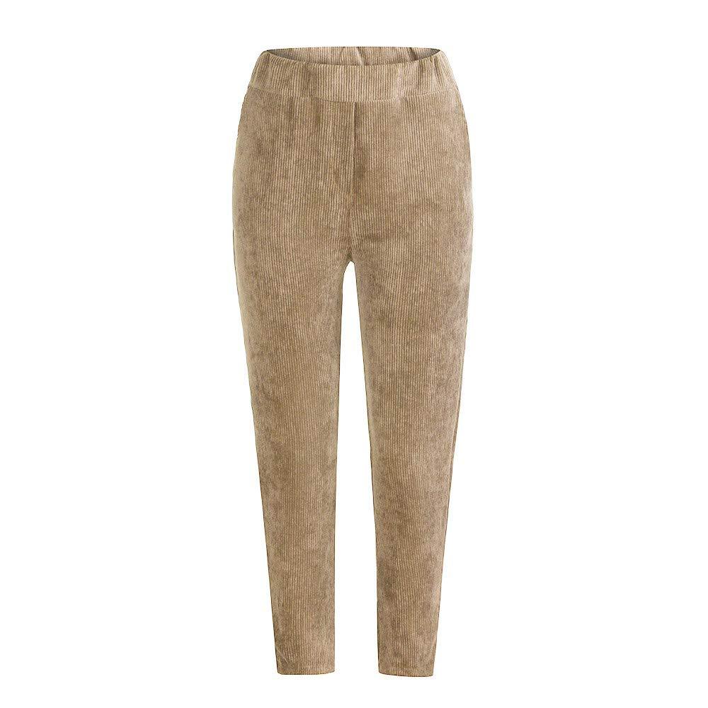Cinnamou Pantalones Pana de Invierno c/álido para Mujer Pantal/ón de Trabajo de Mujer Elasticos Cintura Alta