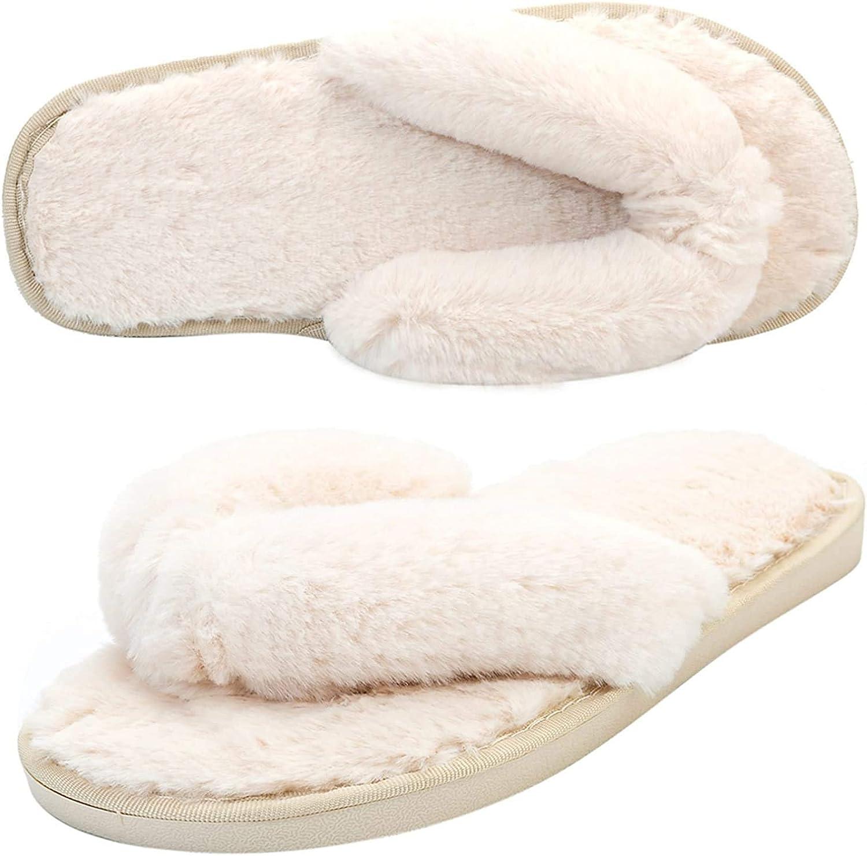AONEGOLD Chausson Fourrure Femme Pantoufles Chaudes Confortable Peluche d/'int/érieur Furry Femelle Bout Ouvert Anti-d/érapant Accueil Slippers