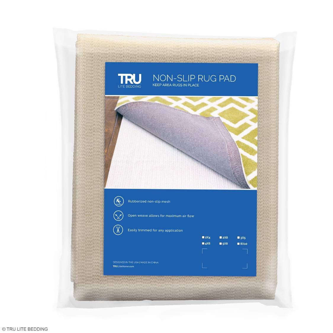 TRU Lite Rug Gripper - Non-Slip Rug Pad for Hardwood Floors - Non Skid Washable Furniture Pad - Lock Area Rugs, Mats, Carpets, Furniture in Place - Trim to fit Any Size - 2' x 8' by TRU Lite Bedding (Image #9)
