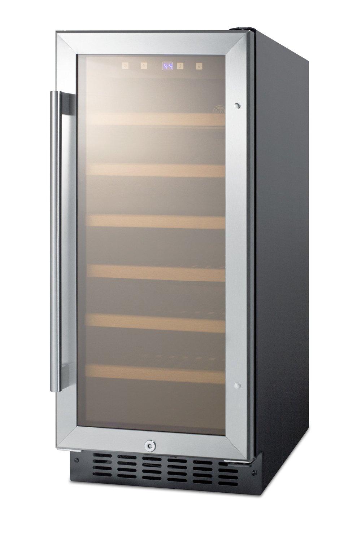 "Summit SWC1535B 15"" Built-In Undercounter Glass Door Wine Cellar with Lock and Digital Controls, Glass/Black"