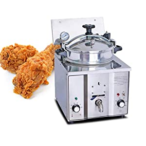 Genmine Commercial Electric Countertop Pressure Fryer Pressure Fryer For Chicken 16L 2400W Commercial Electric Countertop Pressure Fryer Deep Fryer Cooker Stainless Chicken Fish with Timer & Temperature