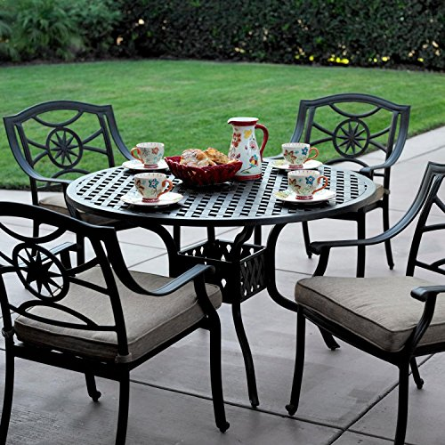 (Darlee Ten Star 5 Piece Cast Aluminum Patio Dining Set With Round Table)