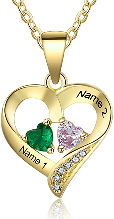 Personalized 3 Simulated Birthstone Name Necklace for Couples Women Custom Relationship Promise Heart Necklace for Wife Girls Mothers Day Necklace for Mom