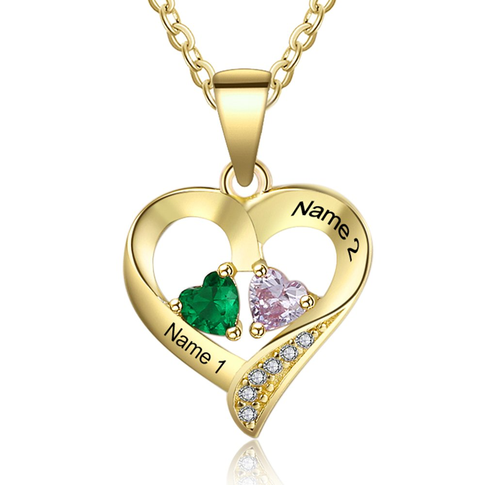 9b93ddaf39 Amazon.com: Love Jewelry Personalized 2 Names Necklace with 2 Heart  Simulated Birthstone Couple Pendant Necklace for Women (Gold): Jewelry