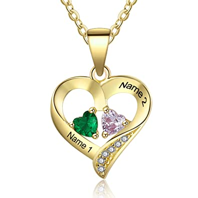 aaaf395cb8 Love Jewelry Personalized 2 Names Necklace with 2 Heart Simulated Birthstone  Couple Pendant Necklace for Women