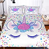 Yellow and Purple Duvet Covers APJJQ Unicorn Duvet Cover Set Full/Queen,Floral Feather Eyelashes Unicorn Head with Pink/Blue/Purple/Yellow Dots White Background 3 Piece with 2 Pillow Shams Kids Bedding Set for Boys,Girls and Teens