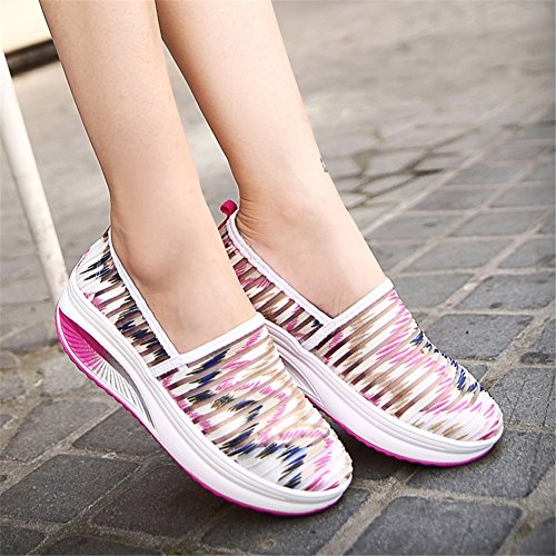 Outdoor Summer Slip Increase Breathable Sneakers On Height Bottom Color A Athletic Casual Shoes Thick Comfort Women's 37 Size Mesh q5ztH