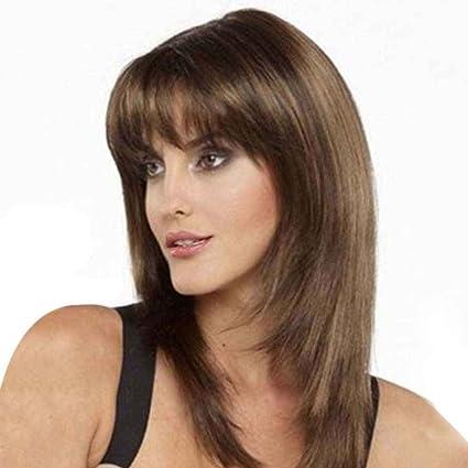 Babysbreath Moda luz natural marrón recta peluca para las mujeres Elegante pelucas medio longitud de pelo
