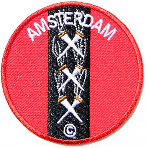 AMSTERDAM Shield Logo Sign Jacket T-shirt Patch Sew Iron on Embroidered Sign Badge Costum Gift