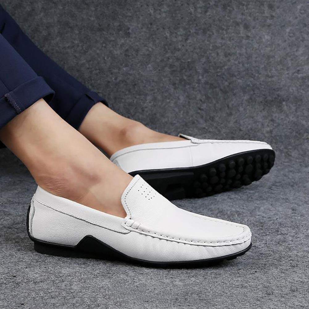 Hy Herren Lederschuhe, Lederschuhe, Lederschuhe, Frühling Herbst stilvolle Peas Schuhe Loafers & Slip-Ons Fahren Schuhe Lazy schuhe Formal Business-Arbeit (Farbe   Weiß, Größe   45) 3efc6a