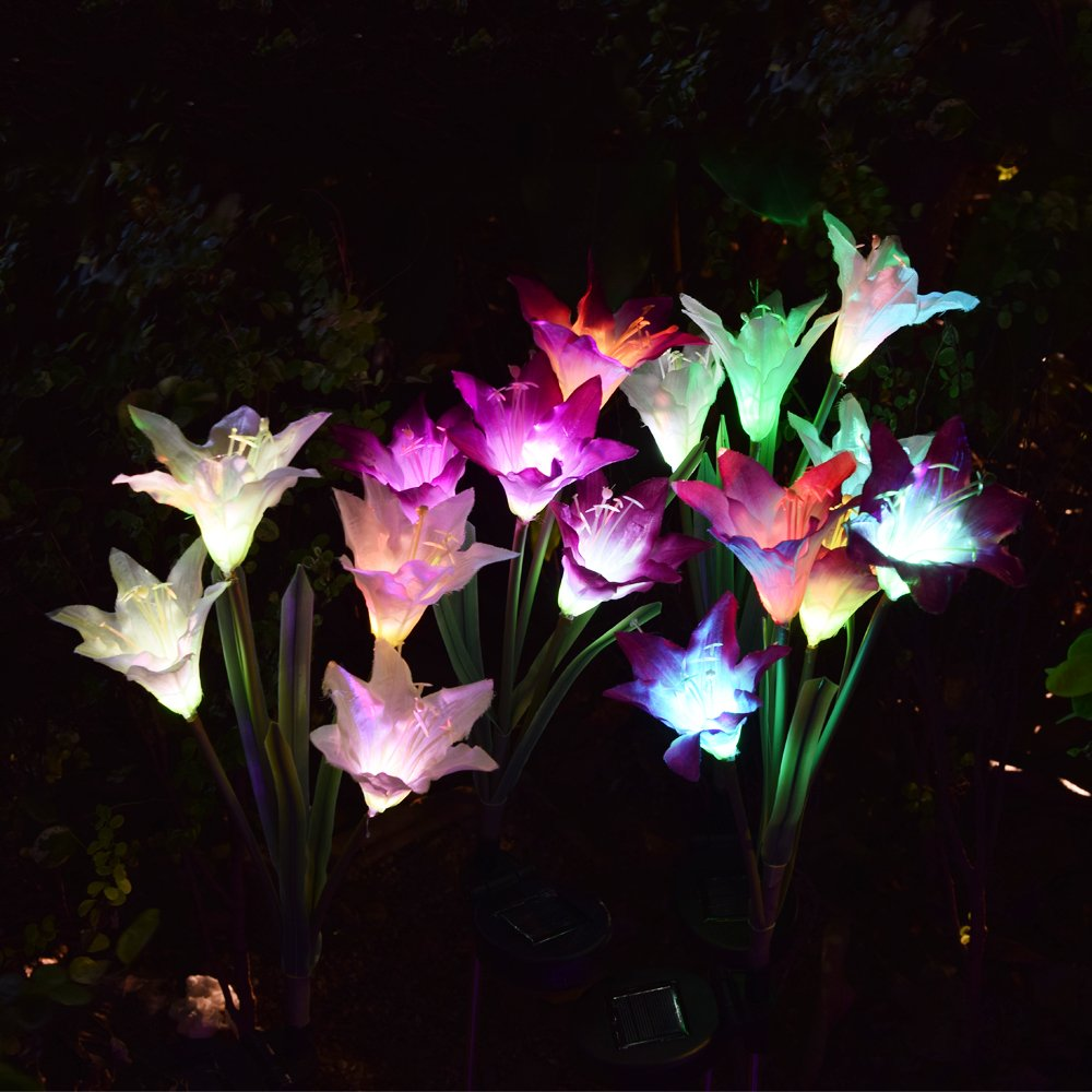Outdoor Solar Garden Stake Lights - 2 Pack Solarmart Solar Powered Lights with 8 Lily Flower, Multi-color Changing LED Solar Stake Lights for Garden, Patio, Backyard (Purple and White) by Solarmart (Image #3)