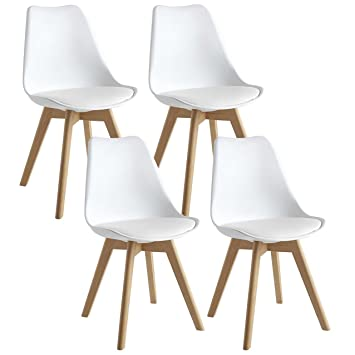 6d01cf55f4 Mmilo Tulip Dining Chairs Office Chairs With Solid Legs Padded, White, Set  of 4