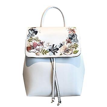 Widewing Travistar Bolsos Mochilas Mujer Casual Las mujeres Mini bordado flor mochilas PU cuero Casual Schoolbag / blanco: Amazon.es: Deportes y aire libre
