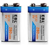 EBL 9V型充電式ニッケル水素電池 2個入り 280mAh 006P型 6p形充電池 角型乾電池