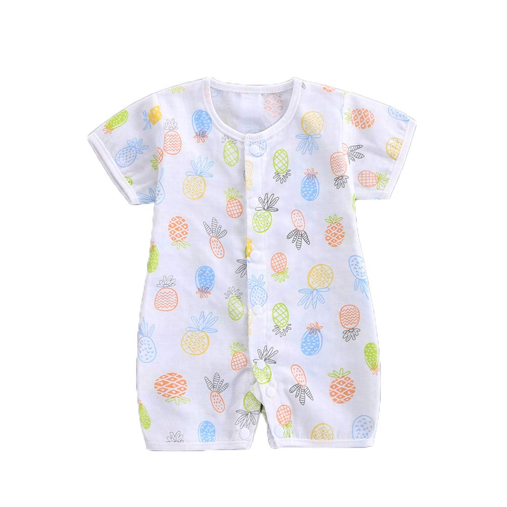 Summer Baby Boys Girls Short Sleeve Snap Up Cartoon Romper Pajamas Infant Toddler Playsuit Outfits
