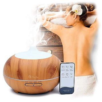 PEYOU 400ml Humidificador Aceites Esenciales Oficina Yoga para Hogar 3-Ajuste de Tiempo Fijo 7-Color LED Difusor de Aromas Humidificador Aromaterapia Ultras/ónico con Control Remoto
