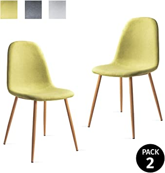 Mc Haus ELVA - Pack 2 Sillas Escandinavas Salón Tapizadas en tela ...