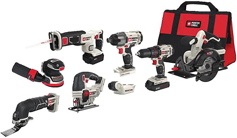 PORTER-CABLE PCCK6118 20V MAX Lithium Ion 8-Tool Combo Kit with PORTER-CABLE PCC771B Bluetooth Radio