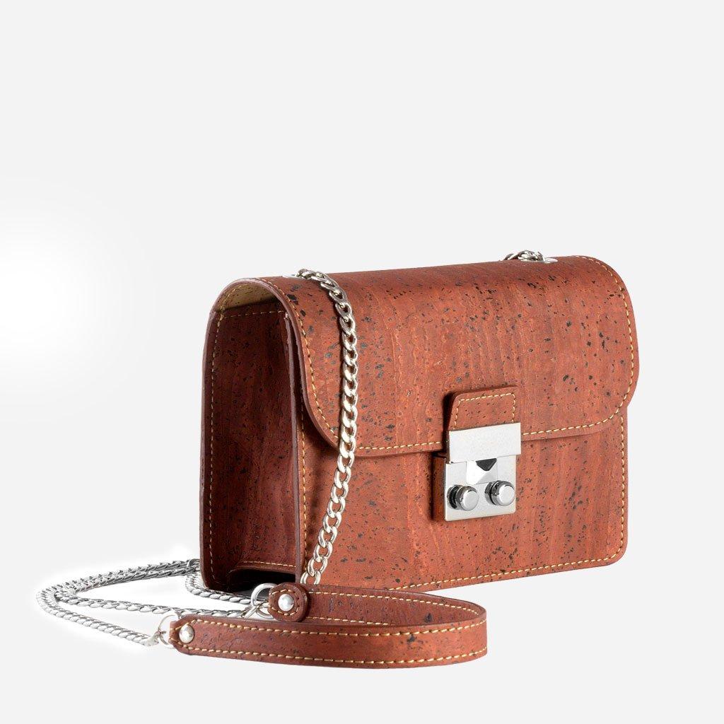 Corkor mini kork handväska för kvinnor moderiktig vegan och miljövänlig handsfree Röd