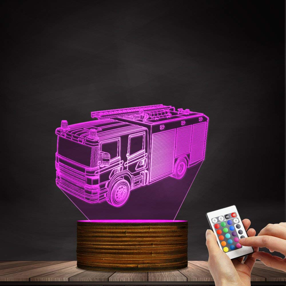 Novelty Lamp, 3D Led Lamp Optical Illusion Fire Truck Night Light 16 Colors with Remote Control Room Decor Switch Remote - Gift for Birthday Christmas Child Adult,Ambient Light by LIX-XYD (Image #7)