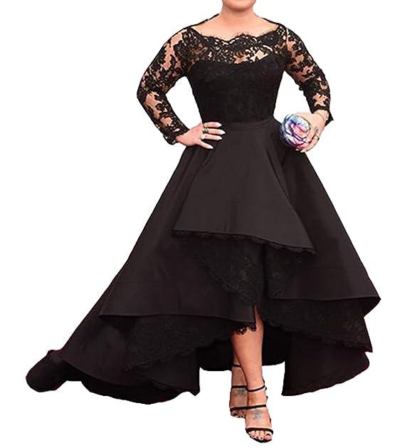 Diandiai Women\'s Lace Long Sleeve Prom Dress Taffeta Hi Lo Evening Dresses  Plus Size