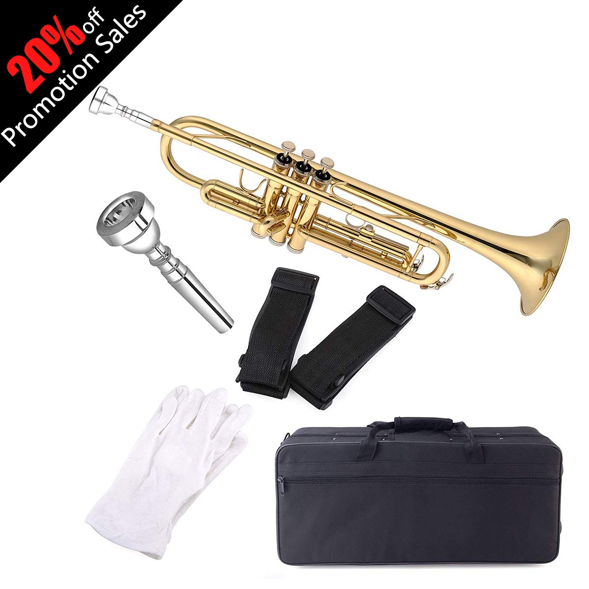 Aileen Lexington Gold Bb Key Student Model Trumpet Includes Hard Case, Cleaning Rod and Cloth, Gloves by Aileen (Image #1)