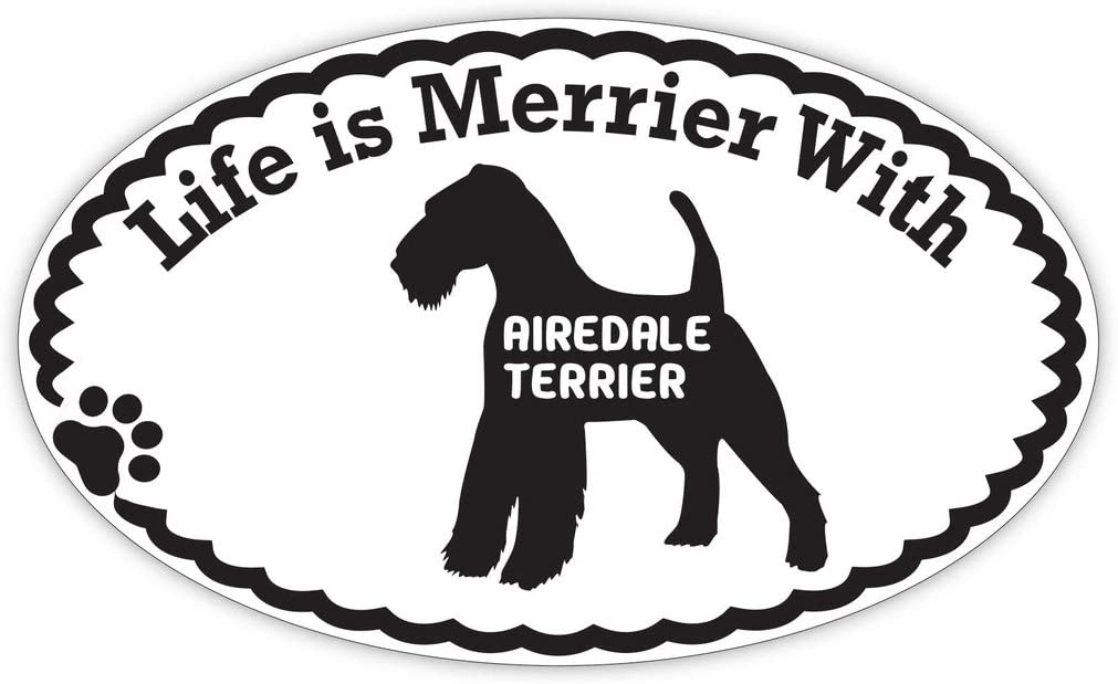 Life is Merrier With An Airedale Terrier Vinyl Dog Window Decal Sticker