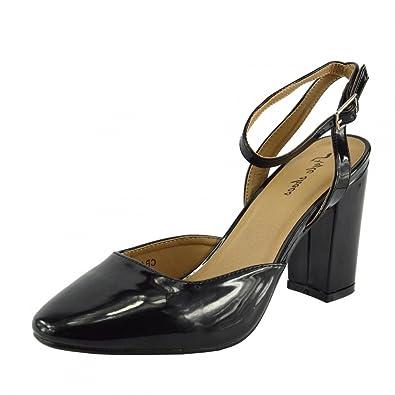 Kick Footwear Kick-Schuhe Damen-Block-Heels Office Schuhe Schwarz - UK 8/EU 41, Schwarz Matt